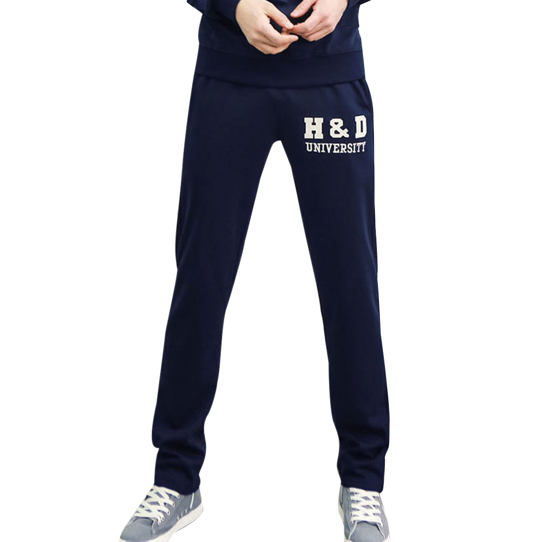 Man Stylish Elastic Waistband Letters Pattern Slim Fit Dark Blue Pants W28