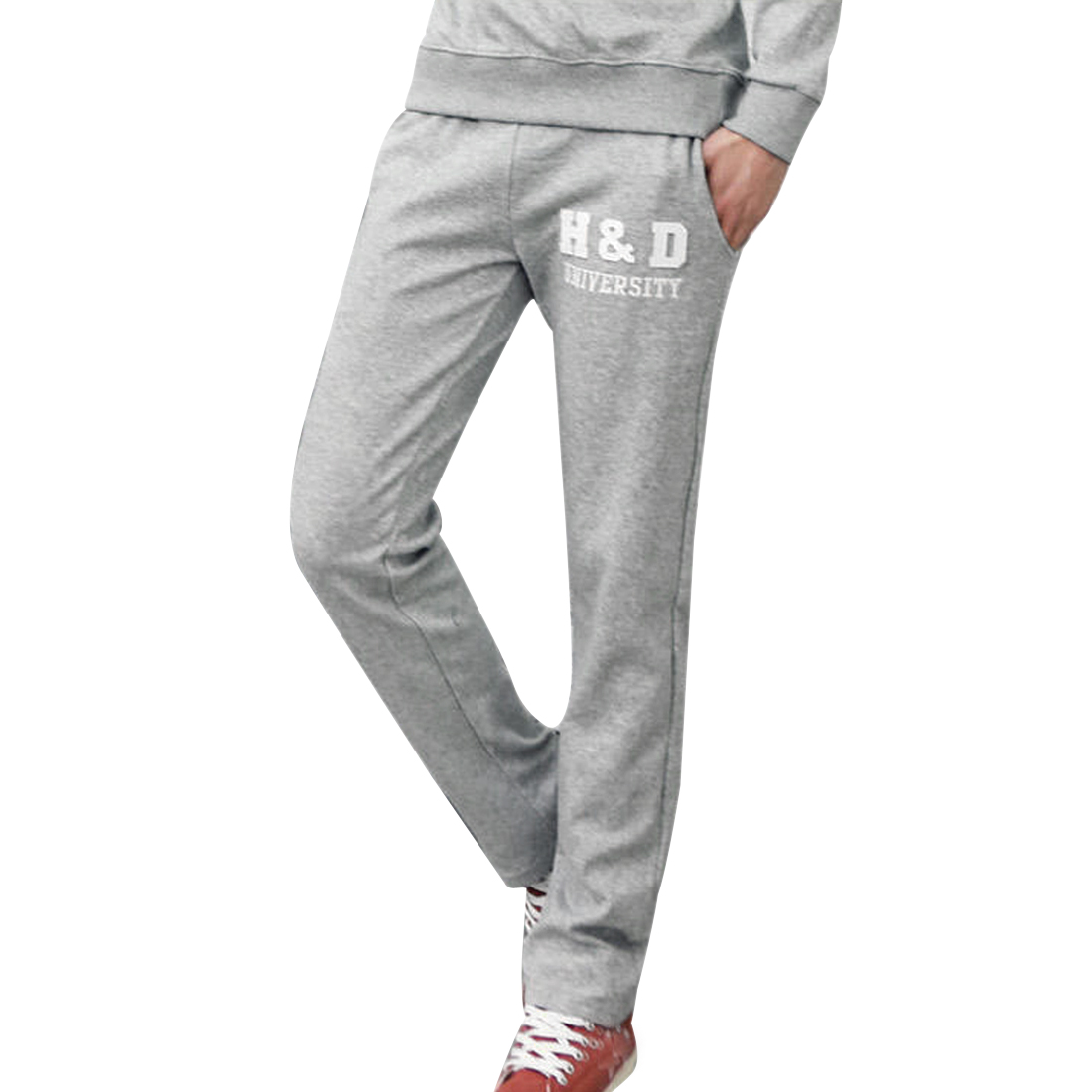 Stylish Heather Gray Letters Printed Casual Long Pants W28 for Man