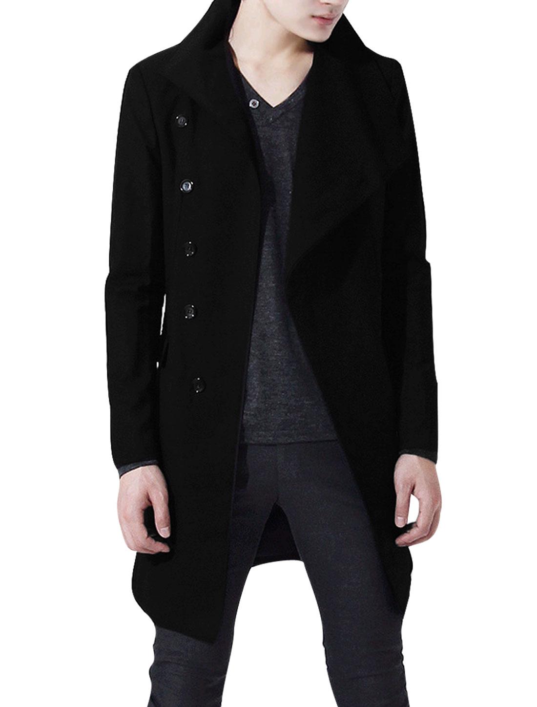 Men S Black Long Sleeve Design Solid Color Notched Lapel Slim Fit Jacket