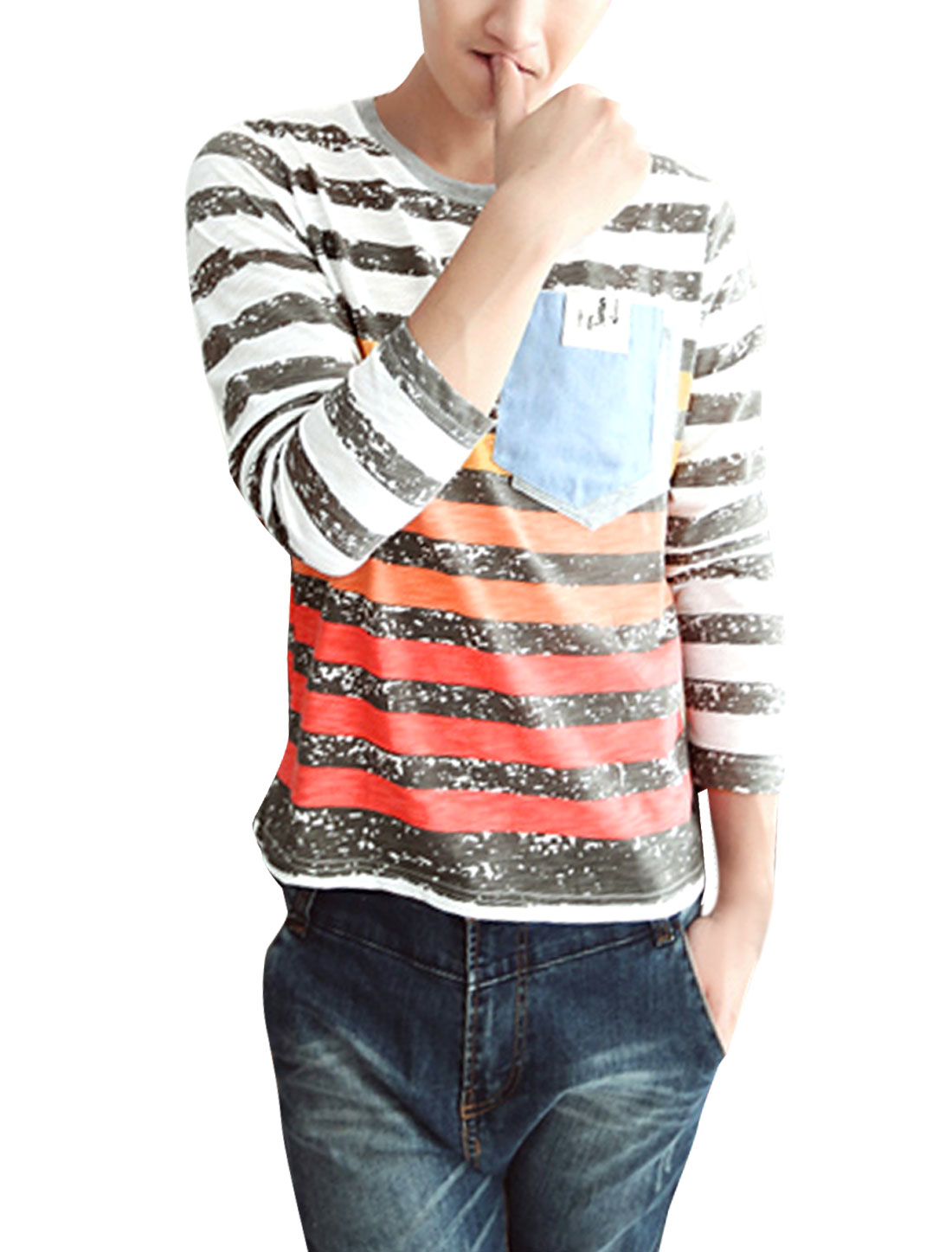 Men Chic Round Neck Long Sleeve Stripes Pattern Light Gray Red T-Shirt S