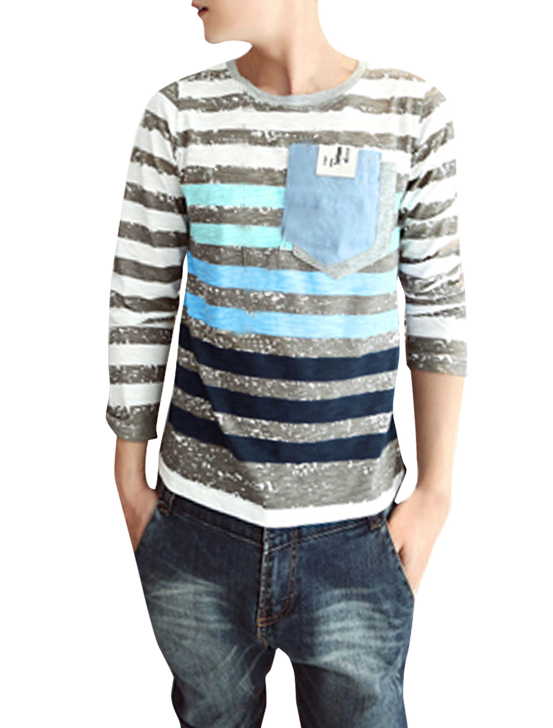 Pullover Round Neck Light Gray Blue Stripes Pattern T-Shirt for Man S