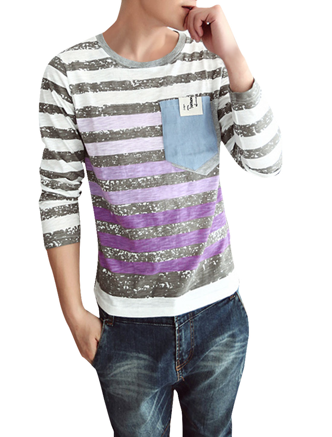 Man Stylish Chest Patch Pockets Light Gray Purple Striped T-Shirt S