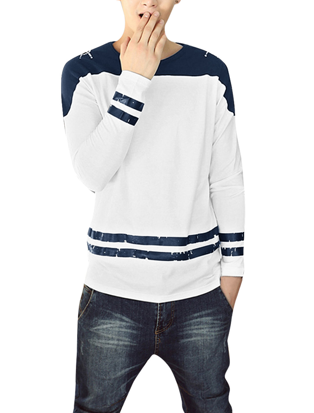Man Round Neck Long Raglan Sleeve Stripes Detail White Dark Blue T-Shirt S