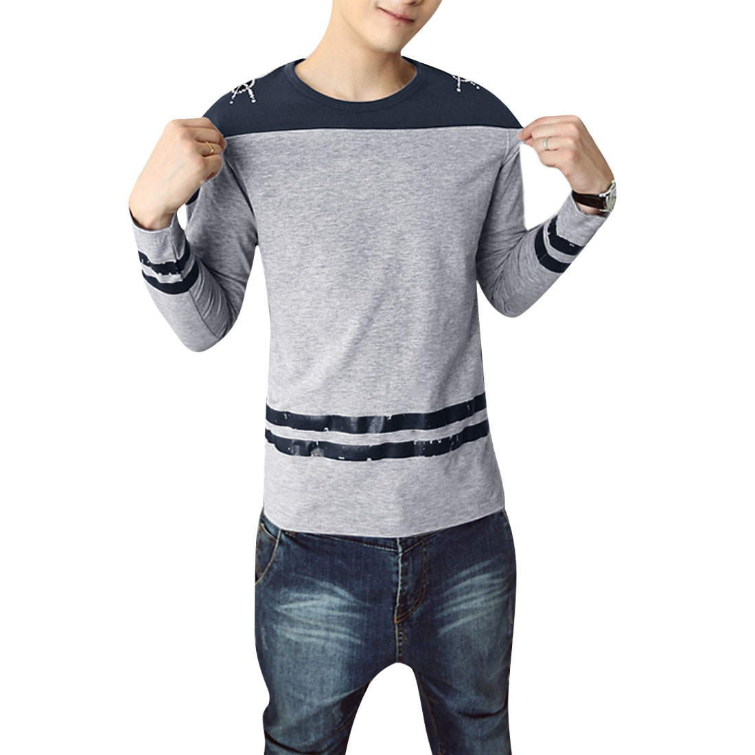 Pullover Gray Dark Blue Color Blocking Spring Casual T-Shirt for Man S