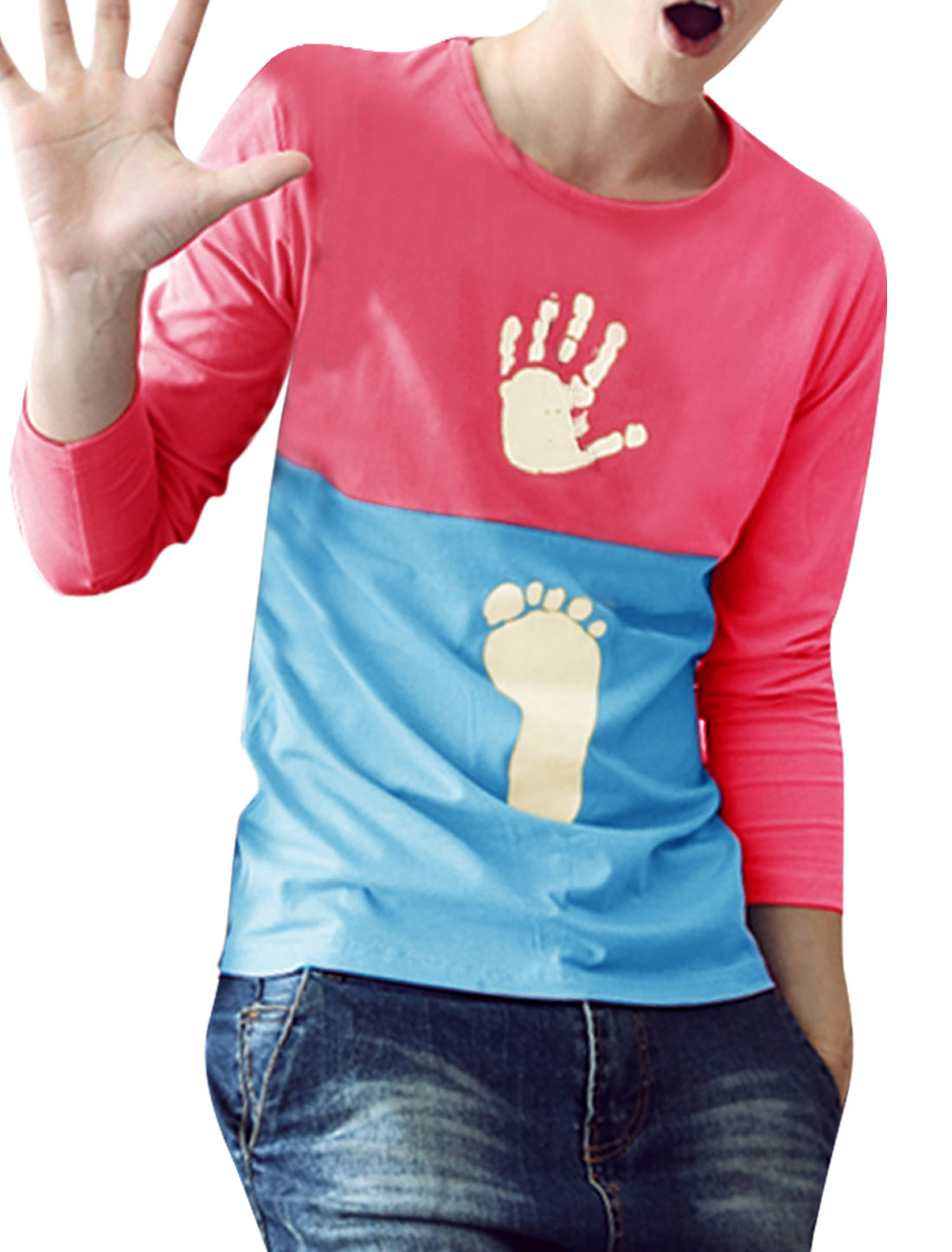 Men Round Neck Long Sleeve Contrast Color Pink Sky Blue Spring T-Shirt S