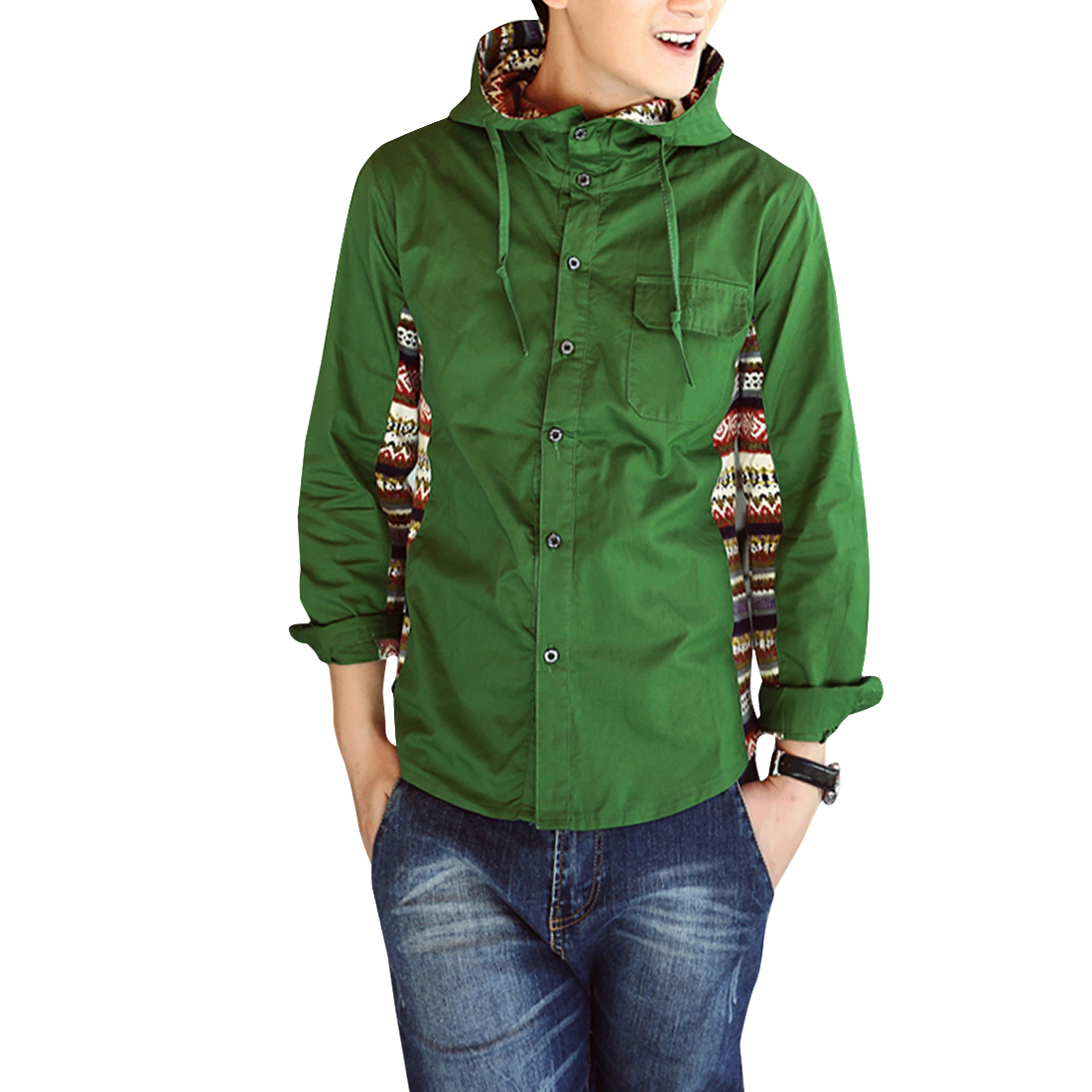 Men Drawstring Hooded Button Down Splice Casual Coat Green S