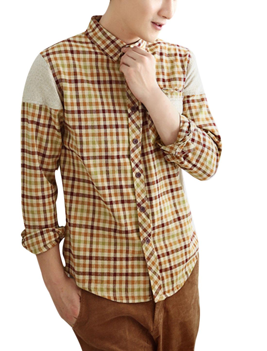 Men's Point Collar Ochre Plaids Patchwork With Pockets Long Sleeve Shirt M