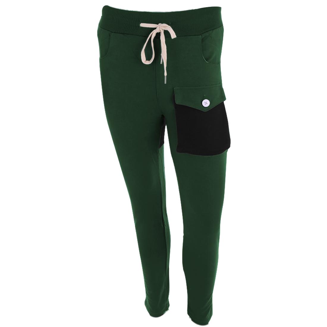 Man Chic Elastic Drawstring Waist Slim Fit Dark Green Casual Pants W28