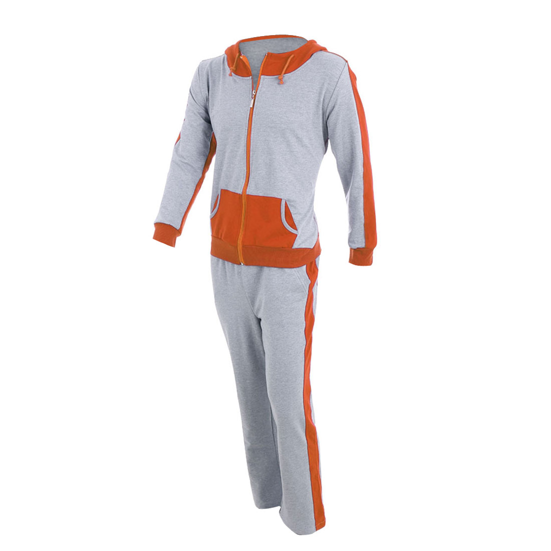 Men Orange Gray Color Blocking Coat w Elastic Waist Long Pants Set S
