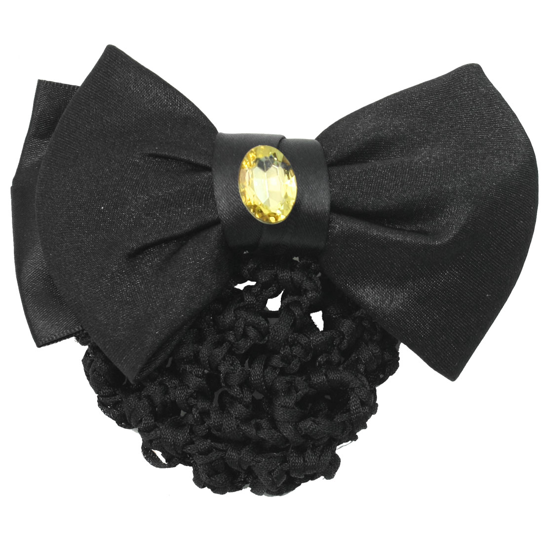 Ladies Black Rhinestone Decorated Dual Bowknots Snood Net French Clip