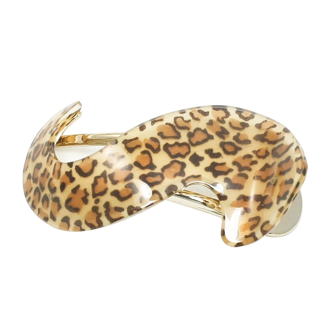 Brown Leopard Print S Shaped Alligator Hair Clip for Lady