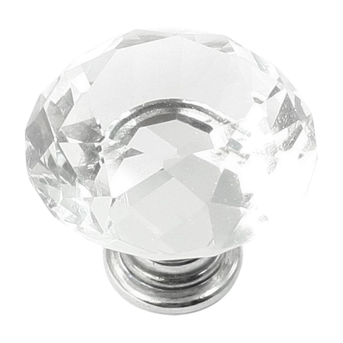 Silver Tone Base Glistening Clear Faux Crystal Knob Drawer Handle