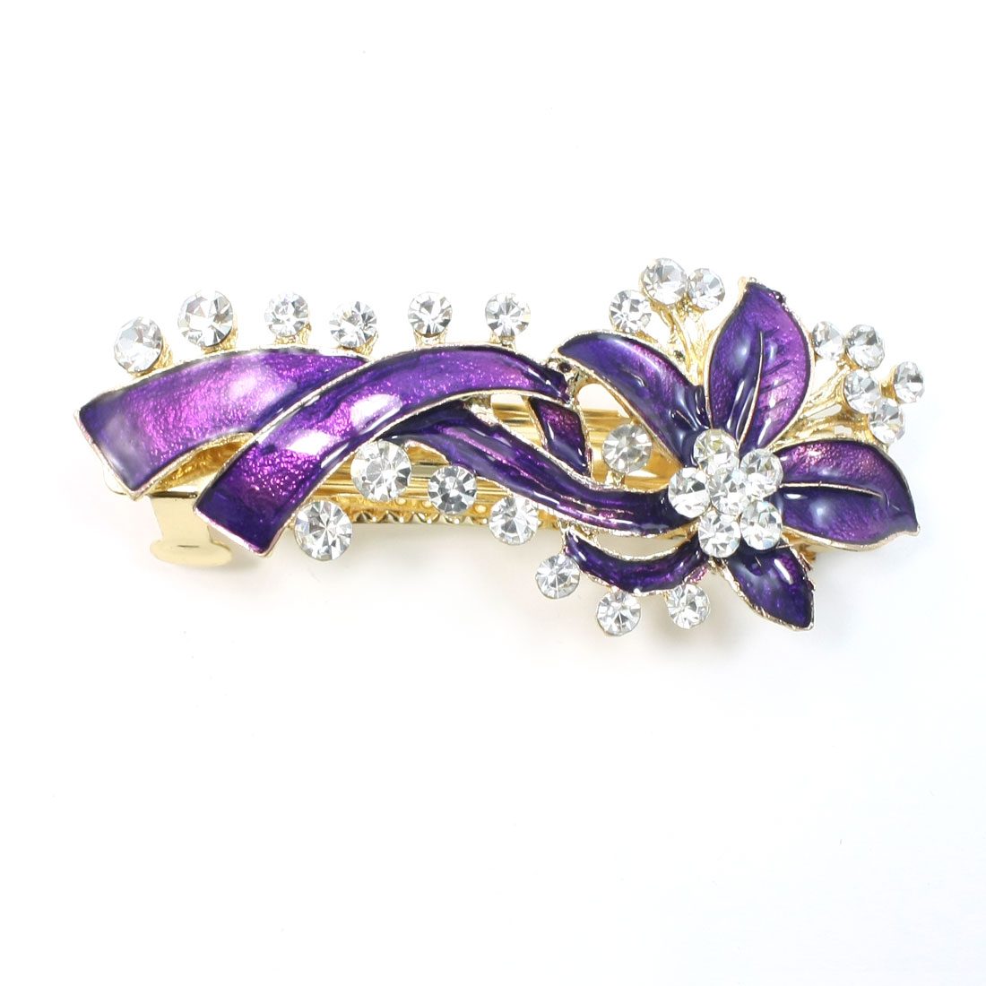 Purple Shiny Rhinestones Detail Metal Leaves French Clip Barrette for Lady