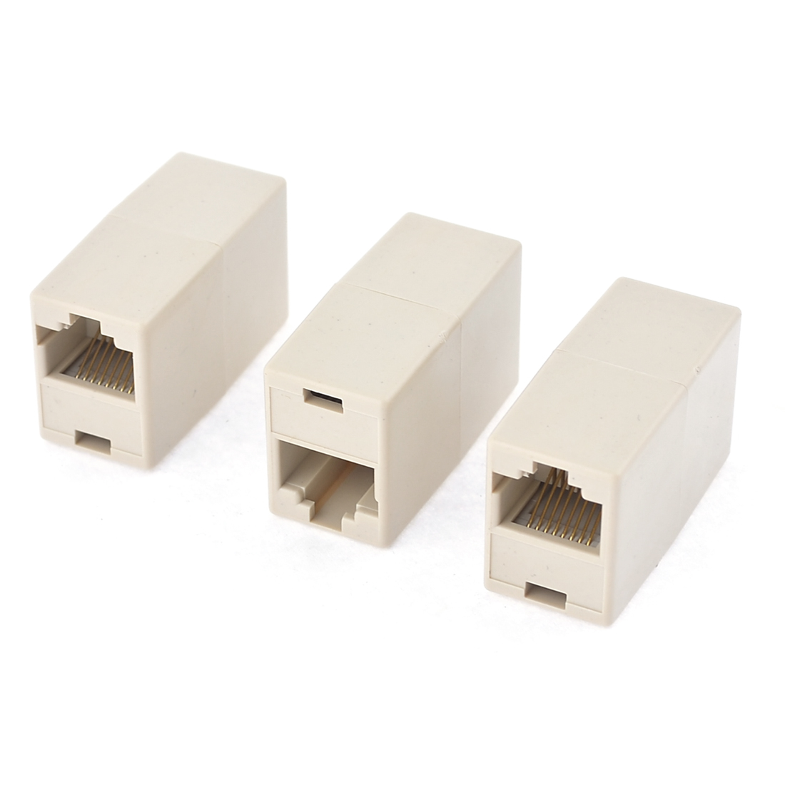 RJ45 8P8C Fax Phone Straight Coupler Connector Extender 3 Pcs