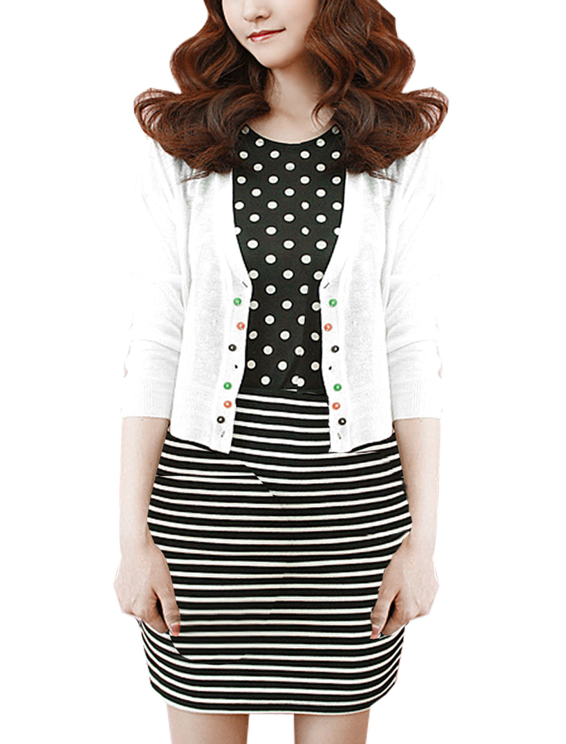 Stylish Colorful Button Decor Long Sleeve White Bolero Shrug M for Lady