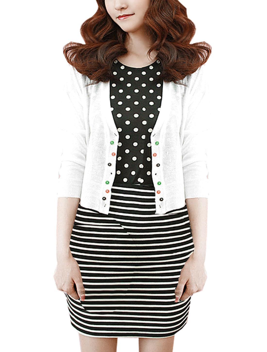 Lady V Neck Long Sleeve Colorful Button Down White Bolero Shrug XL