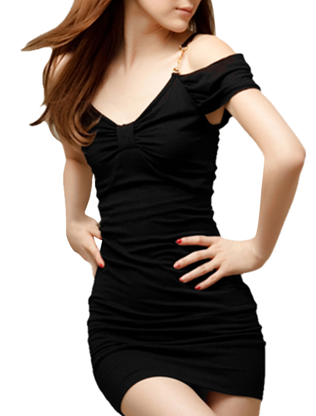 Pullover Stretchy Skinnt Pure Black Bodycon Mini Dress for Lady M