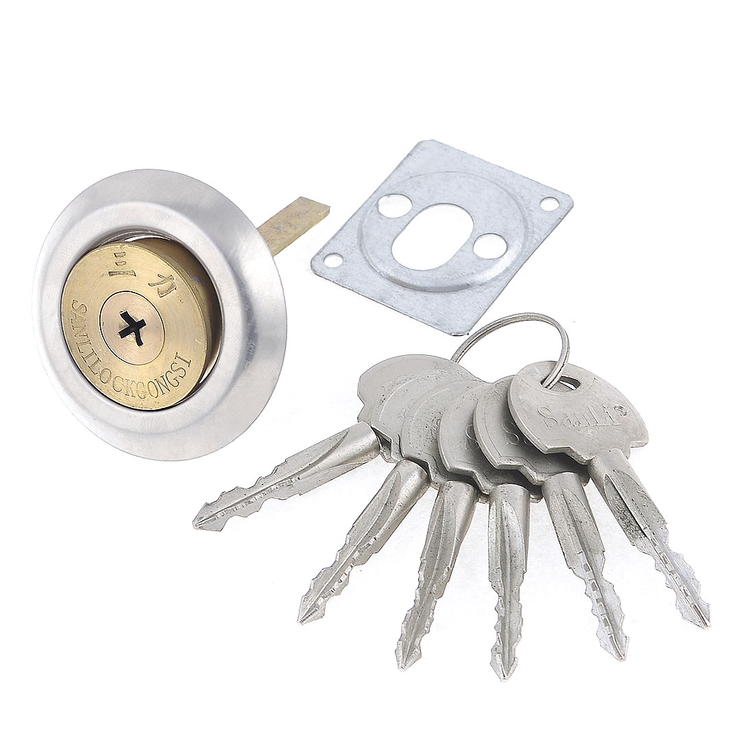 Home Brass Screw Gold Tone Security Cabinet Door Lock w 6 Metal Keys