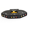 TV Game AV Audio Black 3 Ports Multi Selector Yellow Switch Box