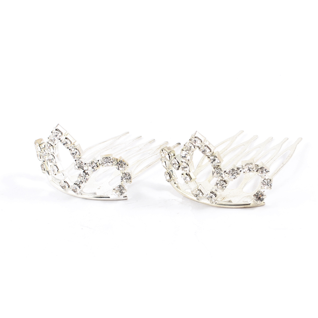 2 Pcs Rhinestone Detail Silver Tone Hair Crown Hair Pin for Ladies