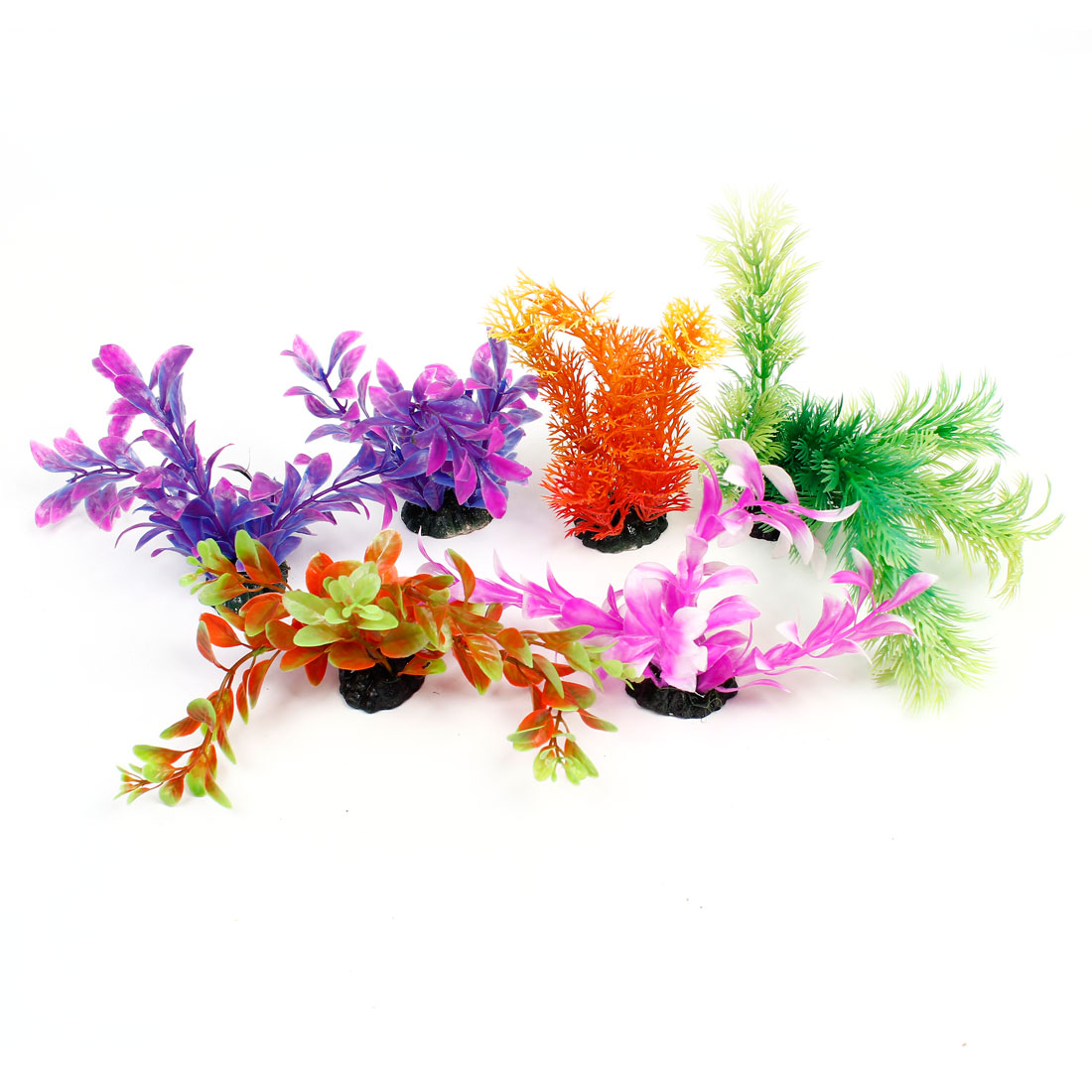 6PCS Green Red Fuchsia Artificial Vivid Plants Ornament for Aquarium Fish Tank