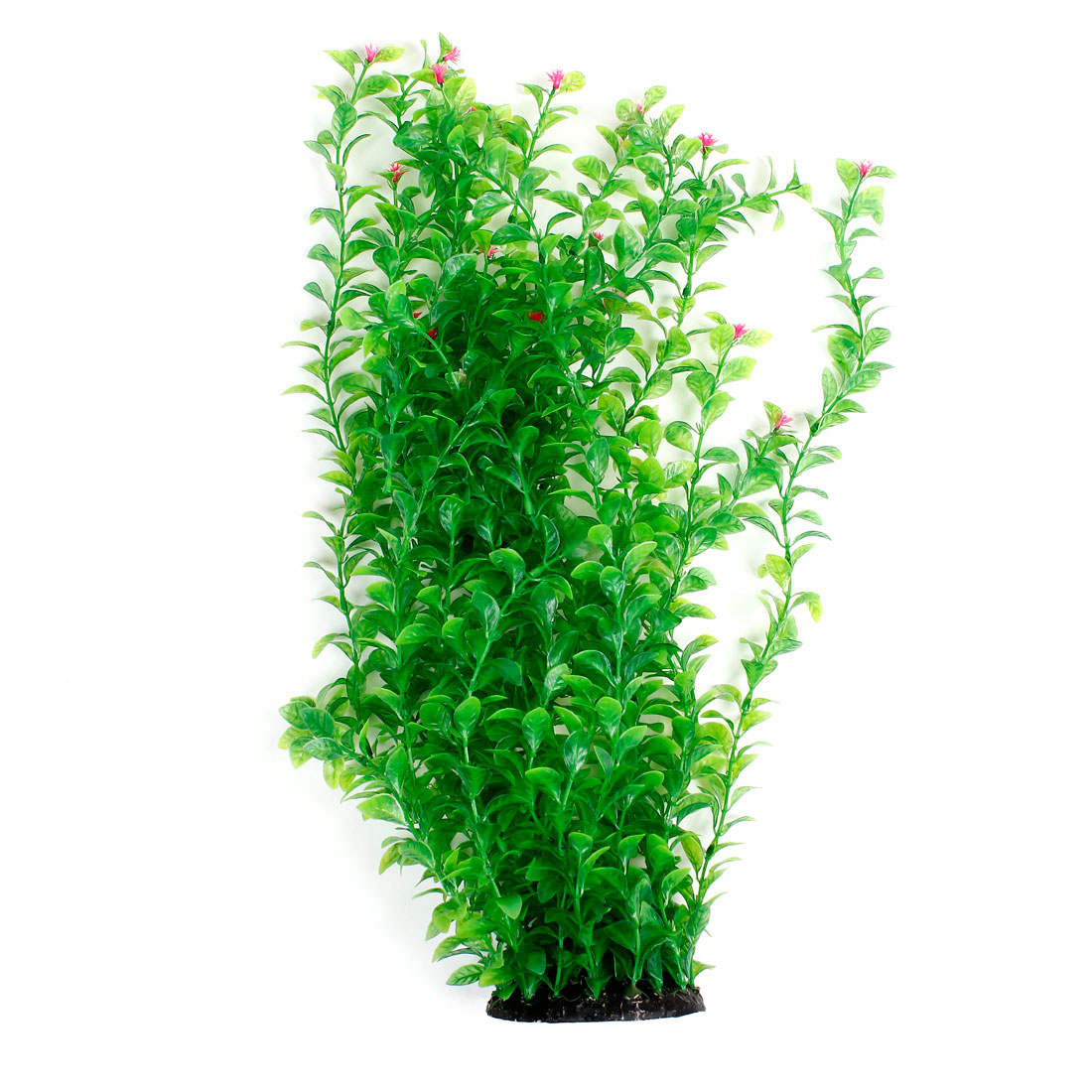 "Ceramic Base Plastic Green Grass Fuchsia Flower Plants 21"" Height for Fish Tank"