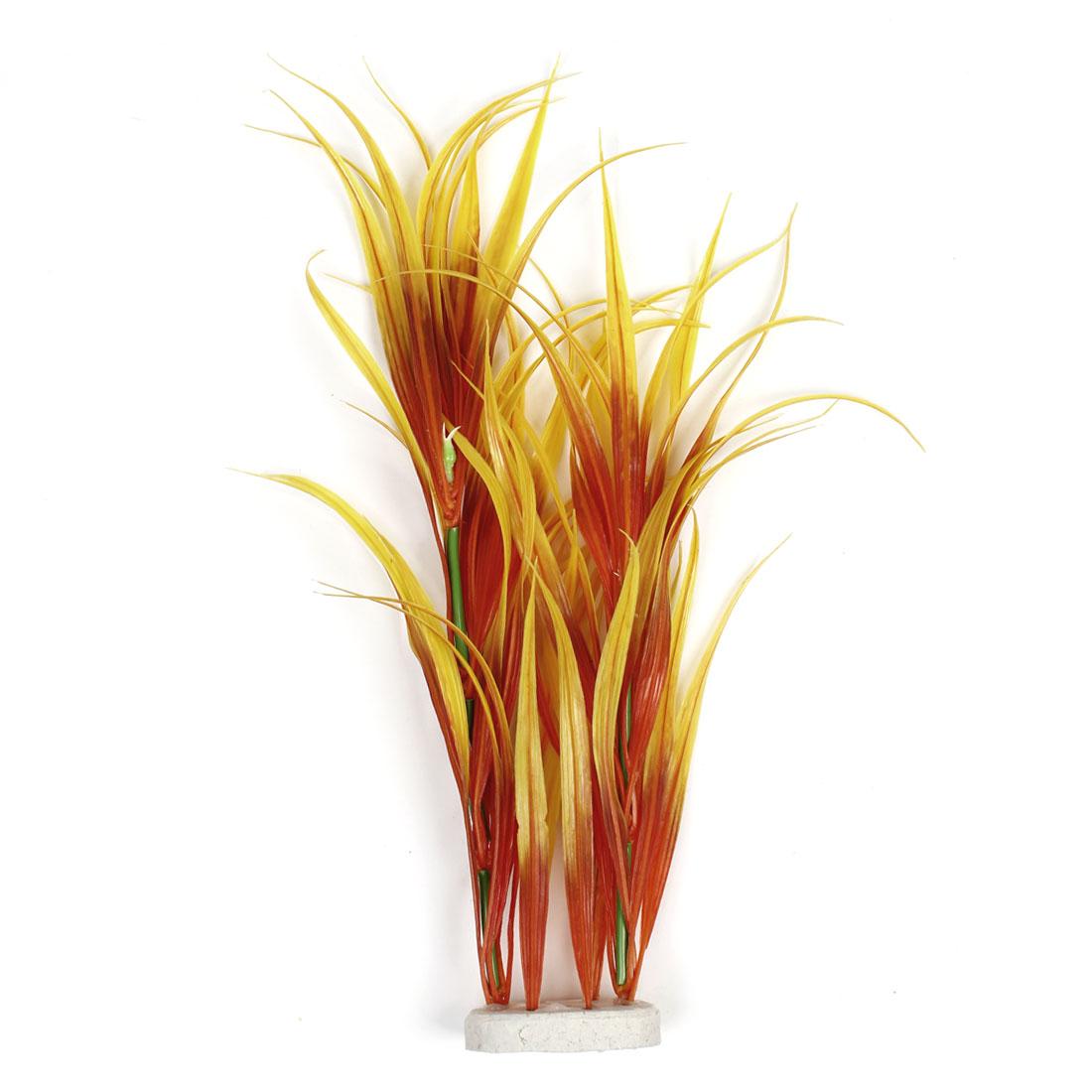 "Fish Tank Aquarium Yellow Red Emulational Plastic Vivid Grass 42cm 16.5"" Height"
