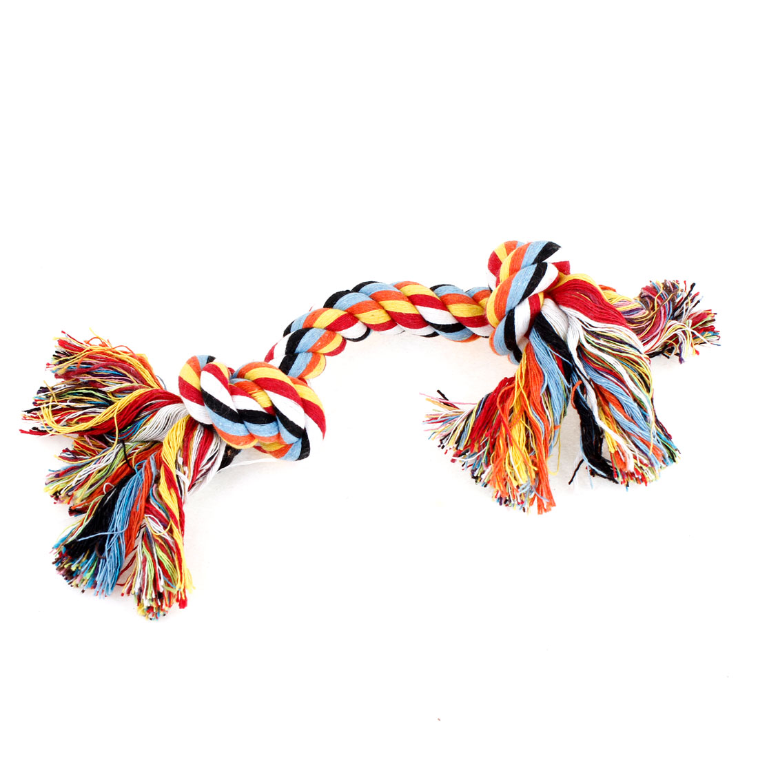 "Dog Puppy Pets Multicolored Braided Bone Rope Chew Knot Toy 27cm 10.6"" Length"