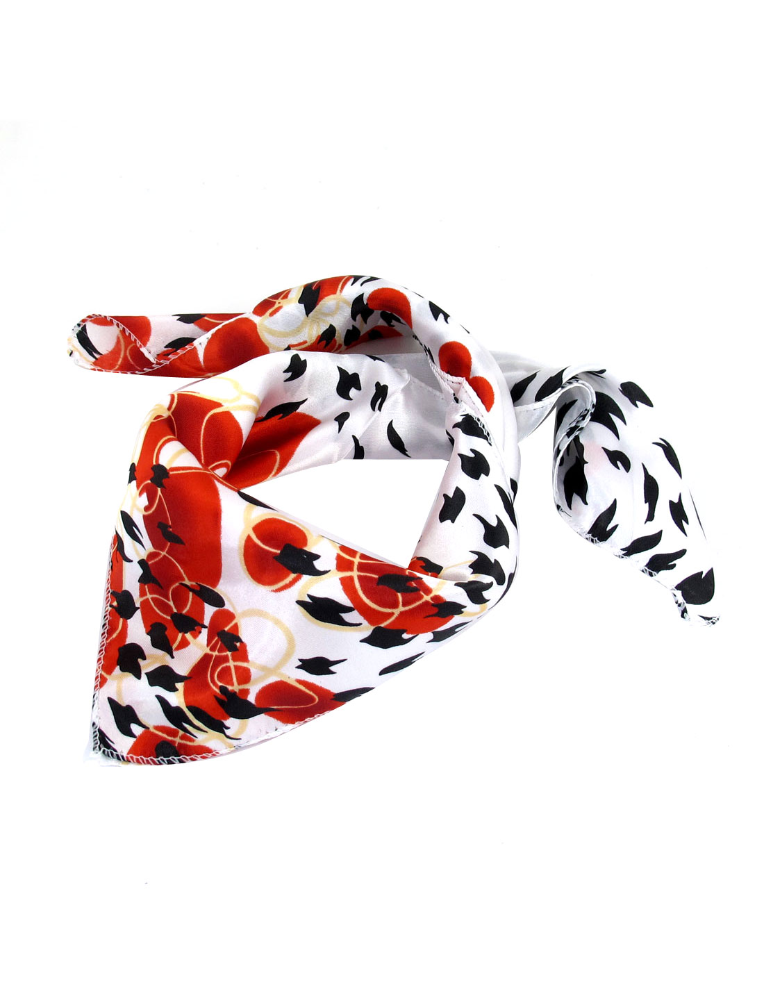 Black Birds Pattern Square Shaped Scarf Neckerchief Red for Woman