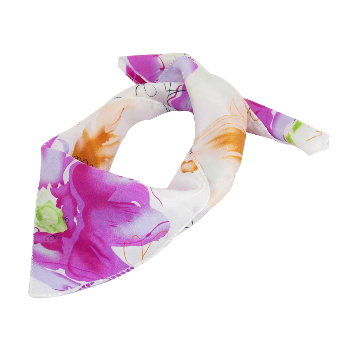 Purple Flowers Pattern Square Shaped Scarf Neckerchief White for Woman