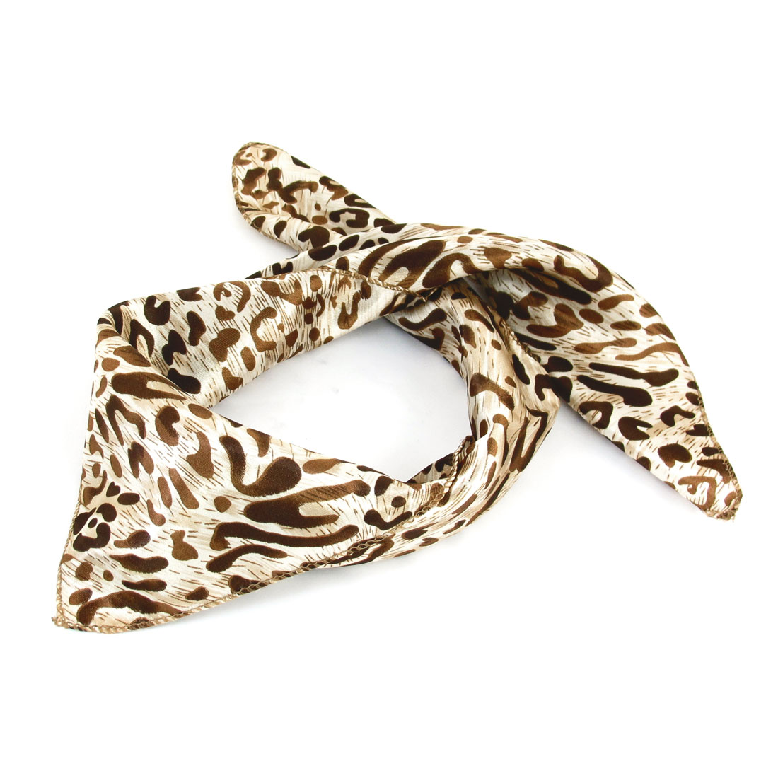 Brown Leopard Pattern Square Shaped Scarf Neckerchief Khaki for Lady