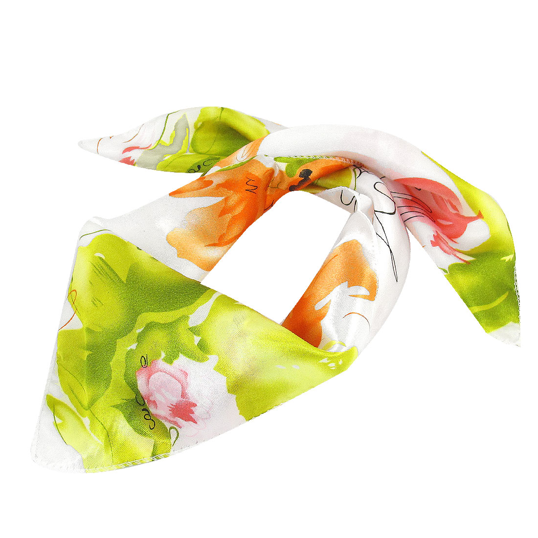 Olive Green Orange Pattern Square Shaped Scarf Neckerchief for Lady