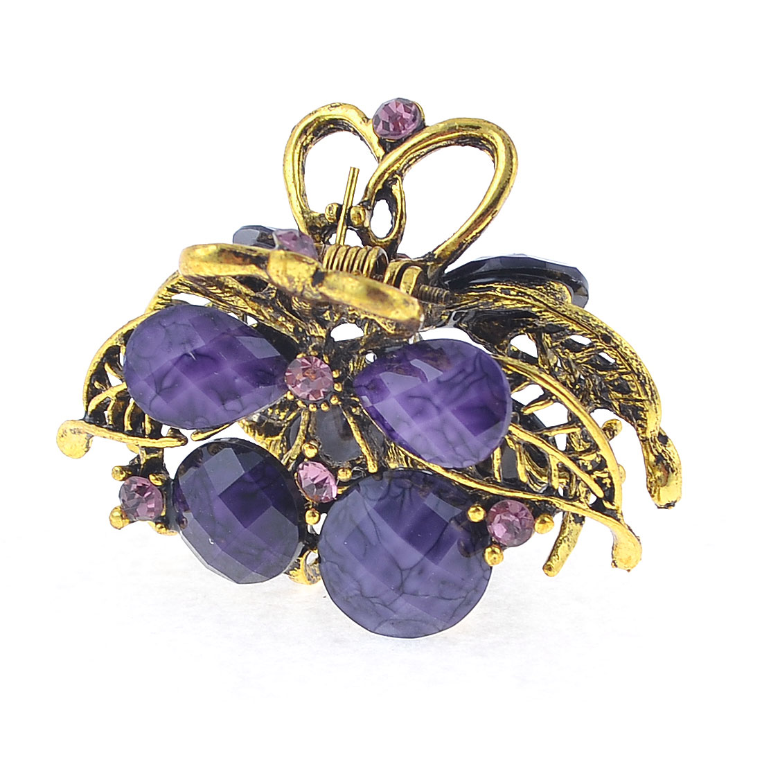 Dark Purple Beads Accent Cherry Design Bronze Tone Mini Hair Claw Clamp