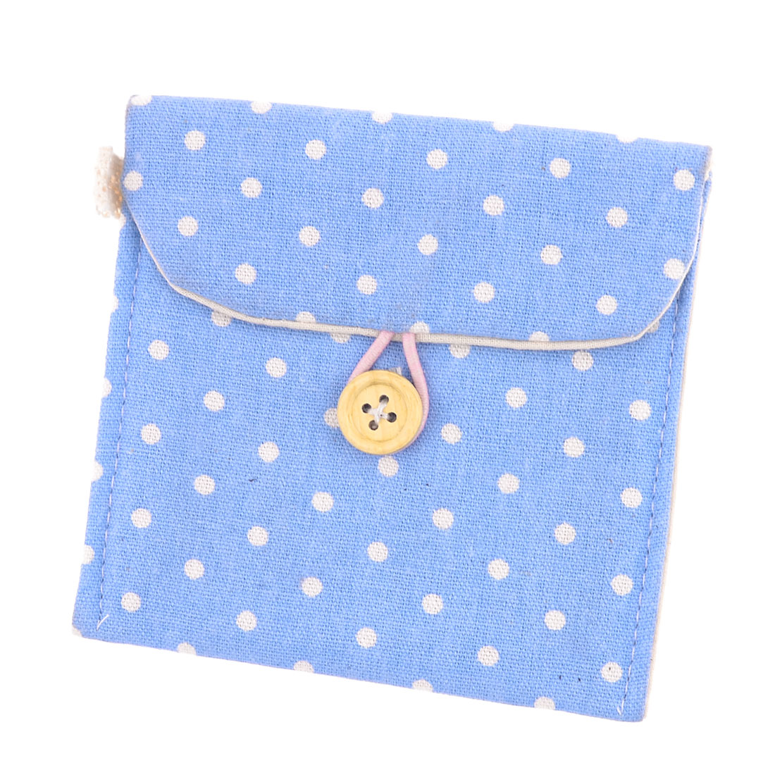 Girl Cotton Blends Polka Dots Sanitary Pad Holder Button Bag Case Blue