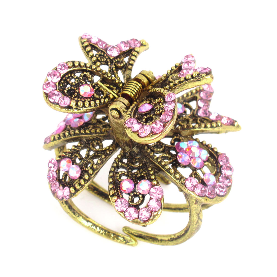 Pink Glistening Rhinestone Inlaid Butterfly Bronze Tone Metal Hair Claw Clamp