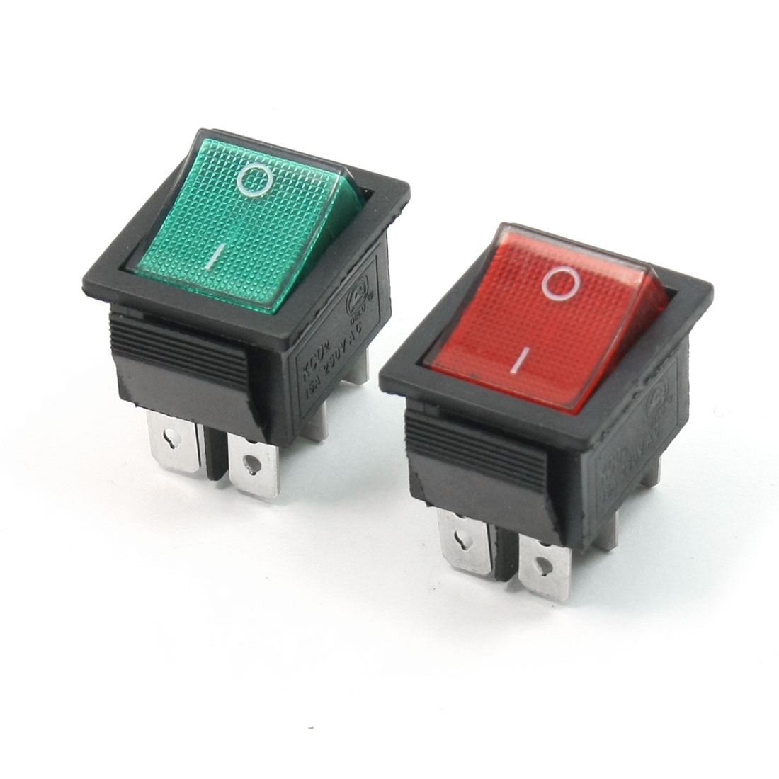 2 PCS On-Off DPDT 6 Pin Terminals Green+Red Pilot Lamp Rocker Switch AC250V 15A