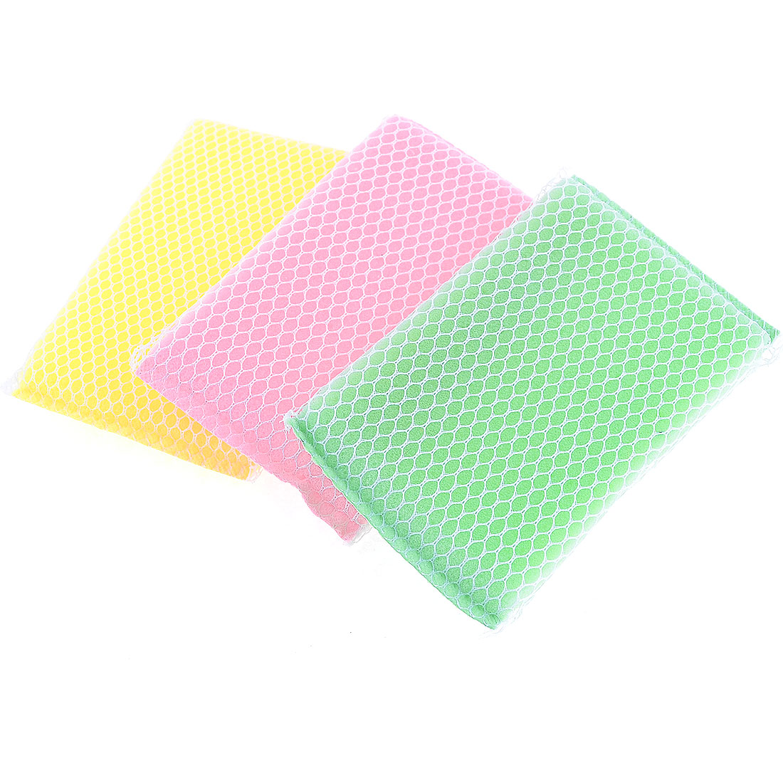 Kitchen Pink Green Yellow Dish Net Sponge Cleaners Tool 3 Pcs