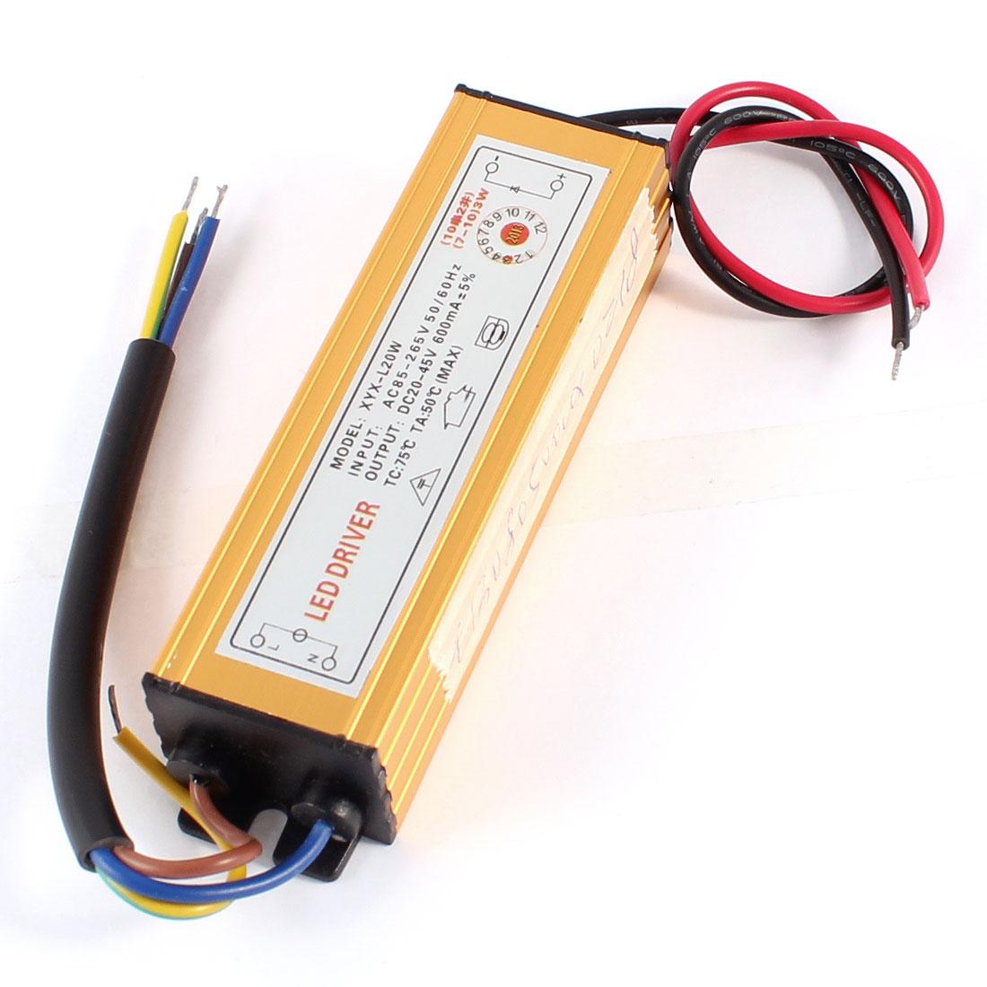 AC 85-265V DC 20-45V 600mA Power Supply Driver for 7-10x3W LED Strip Light