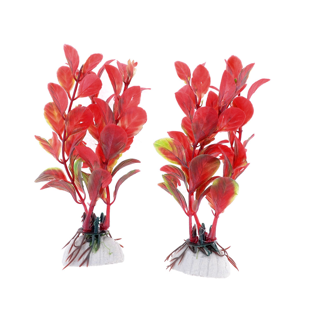 "Aquarium Landscaping Dark Red 4.3"" Long Round Leaf Plastic Plants 2 Pcs"