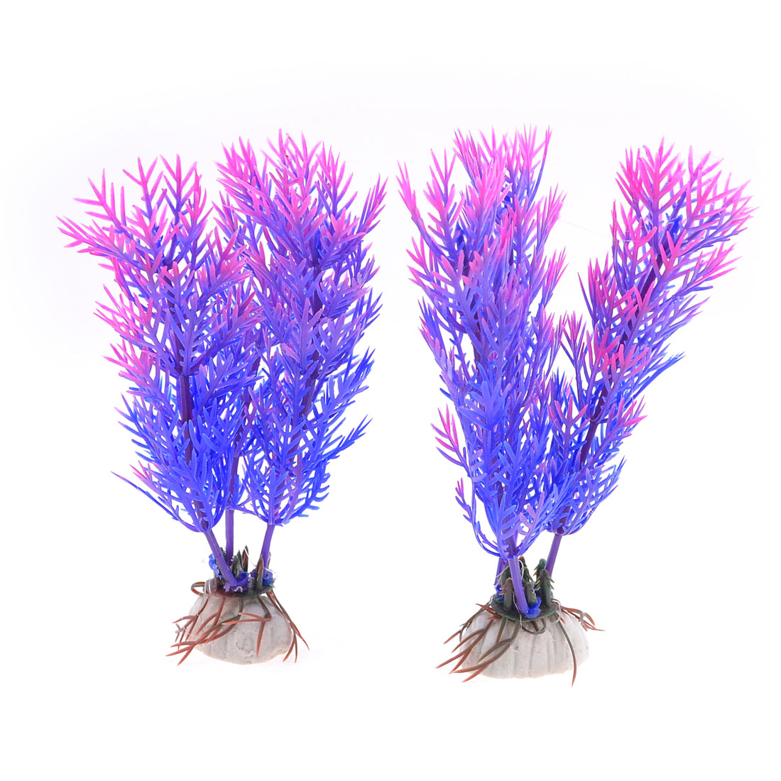 "2 Pcs 4.7"" Height Blue Pink Plastic Grass Plant for Fish Tank"