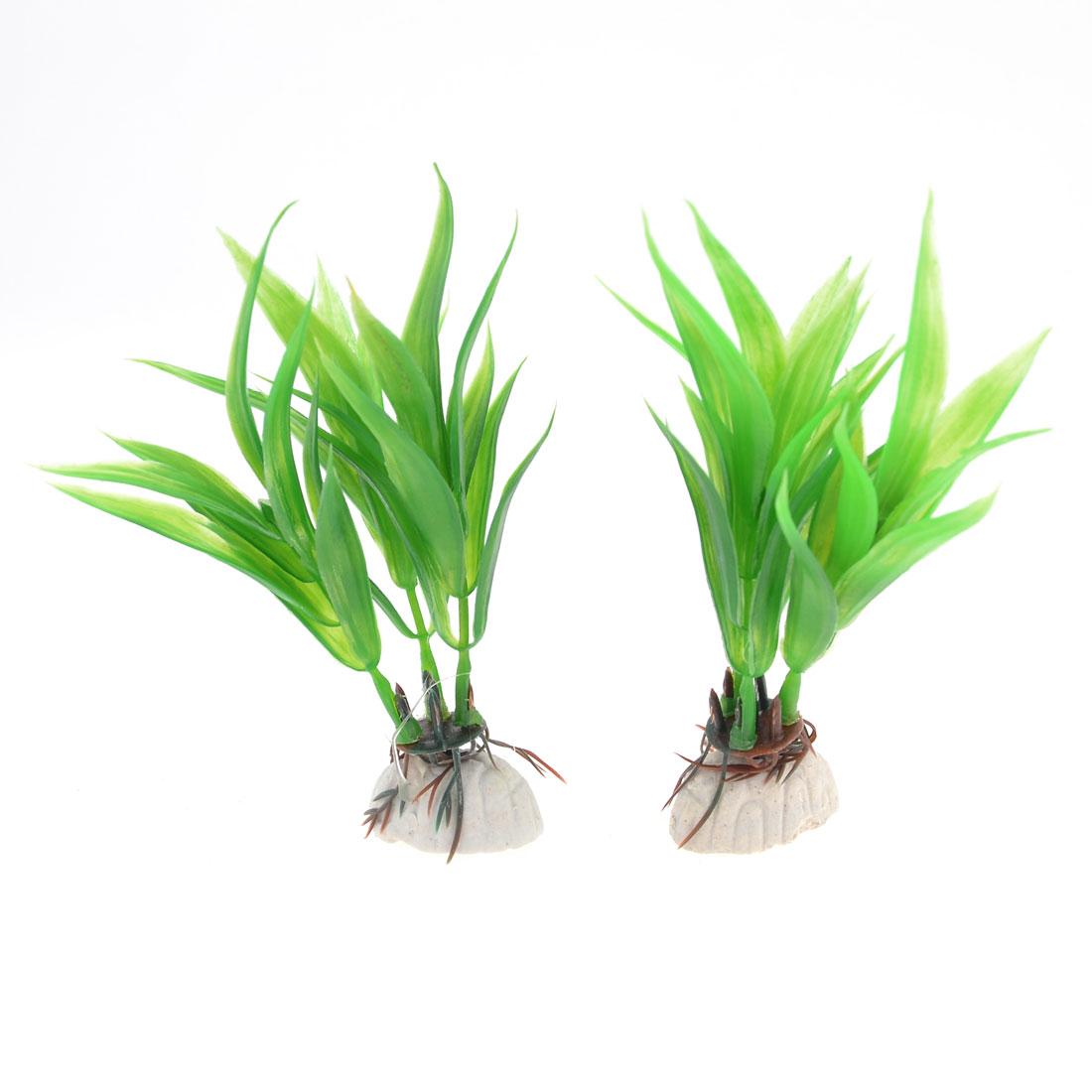 "2 Pcs 4.3"" Aquarium Emulational Green Plastic Snowflake Leaves Water Plant Decor"
