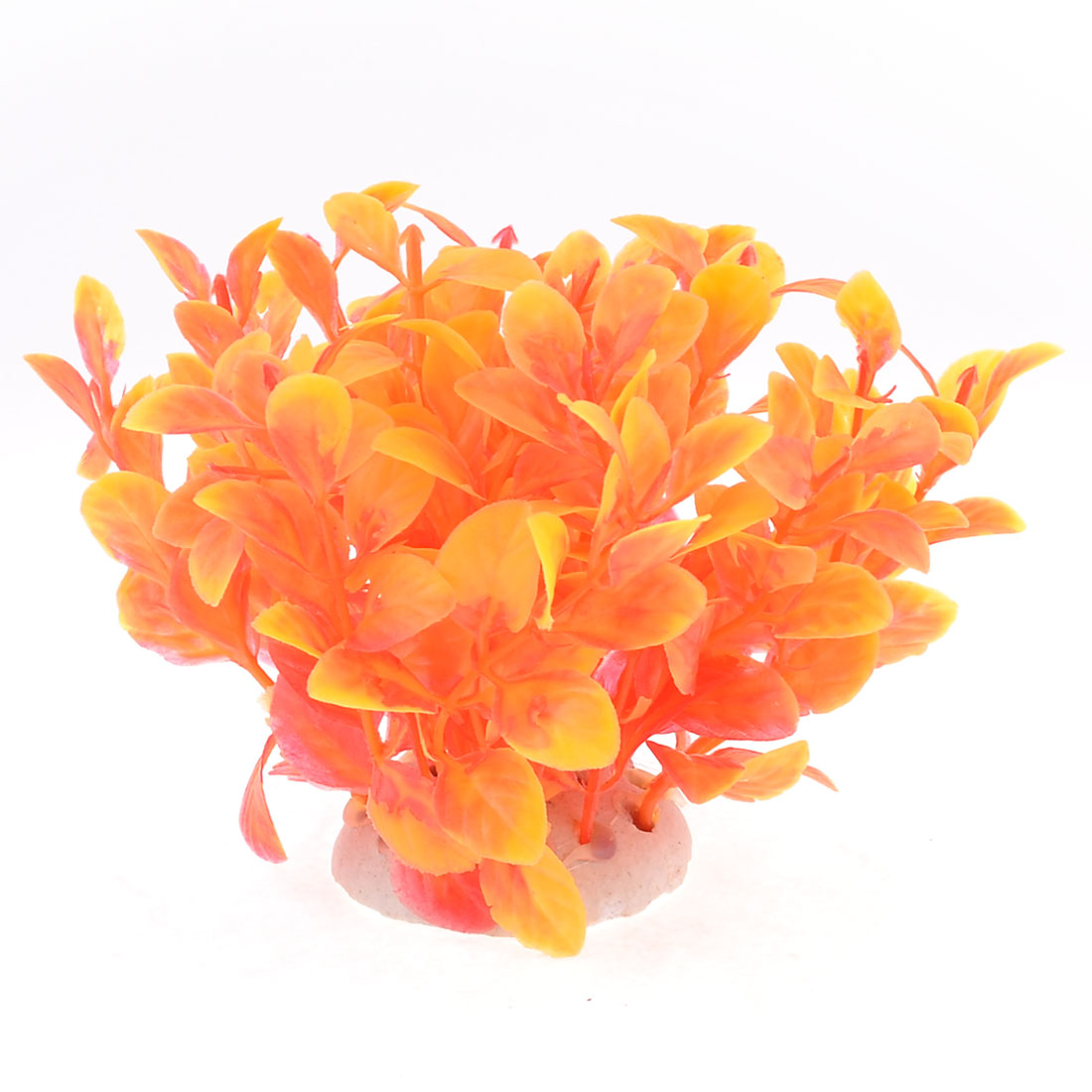 "Aquarium Landscaping Orangered Leaf Manmade Plastic Plants 3.9"" Height"