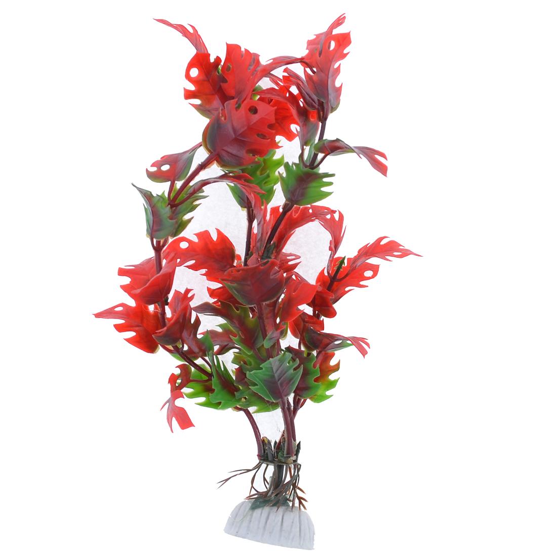 "Aquarium Landscaping Green Red 7.9"" Long Banana Leaf Plastic Plants"