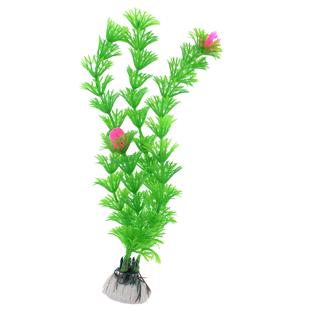 "Aquarium Tank Aquascape Green Pink 7.9"" Heigh Thin Leaf Plastic Water Plant"