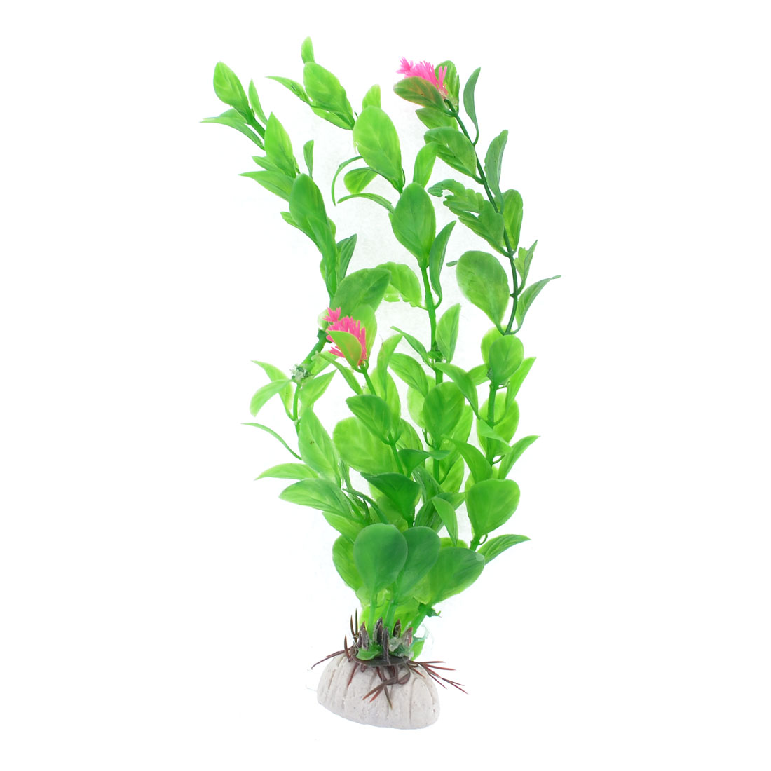 "Fish Tank Aquarium Decor Pink Flower Plastic Green Grass Plant 7"" Height"