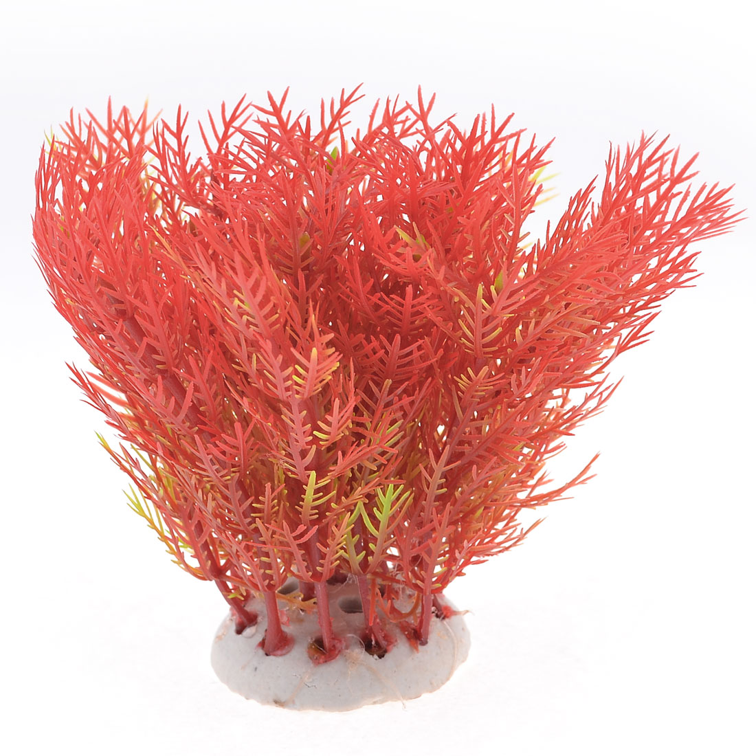 "Fish Tank Aquarium Decoration Green Red Plastic Grass Plant 4.7"" Height"
