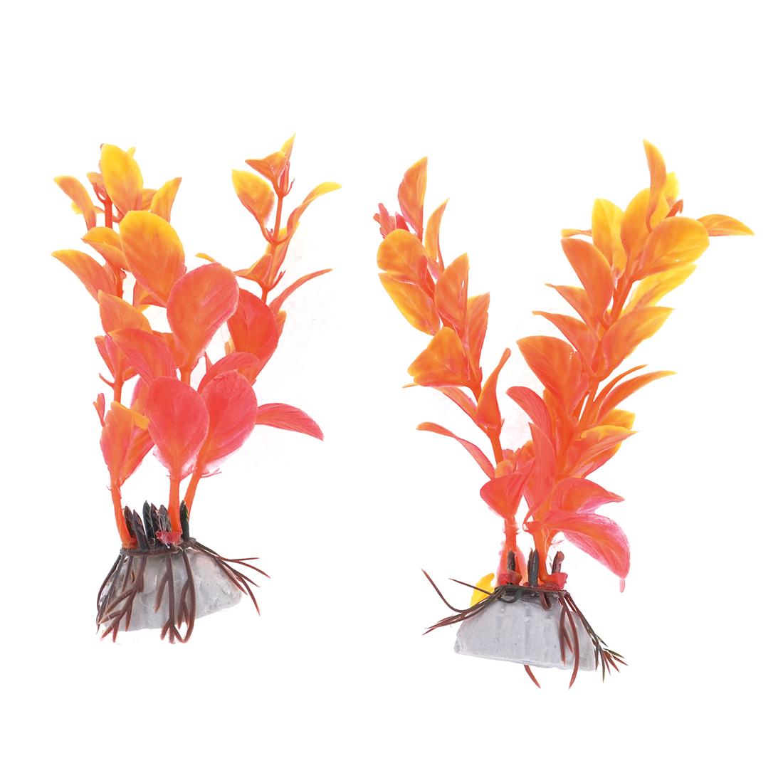 "Aquarium Landscaping Orangered 4.3"" Long Oval Leaf Plastic Plants 2 Pcs"