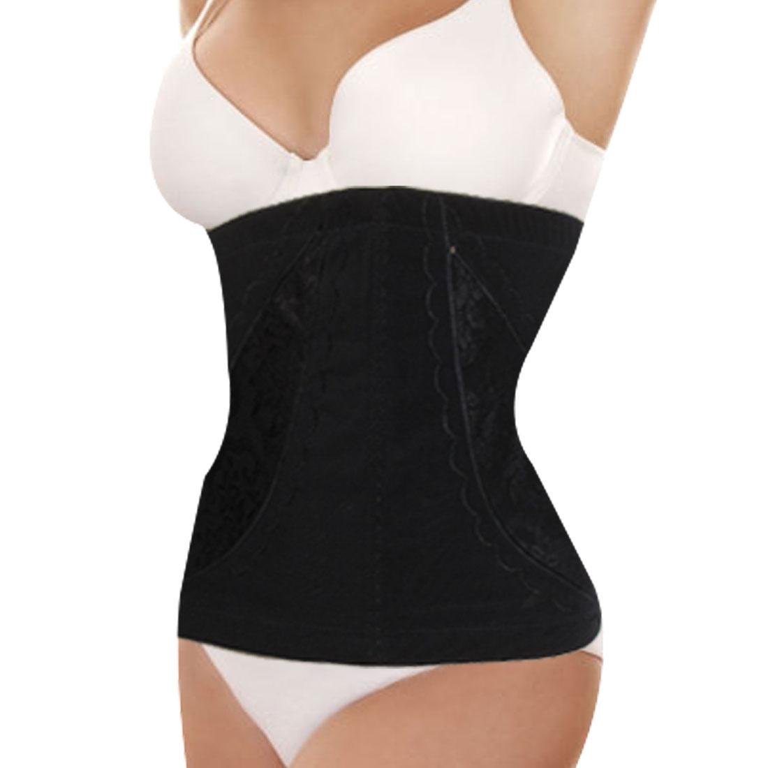 Women Black Flower Print Elastic Body Shaper Corset Girdle Waist Cincher L