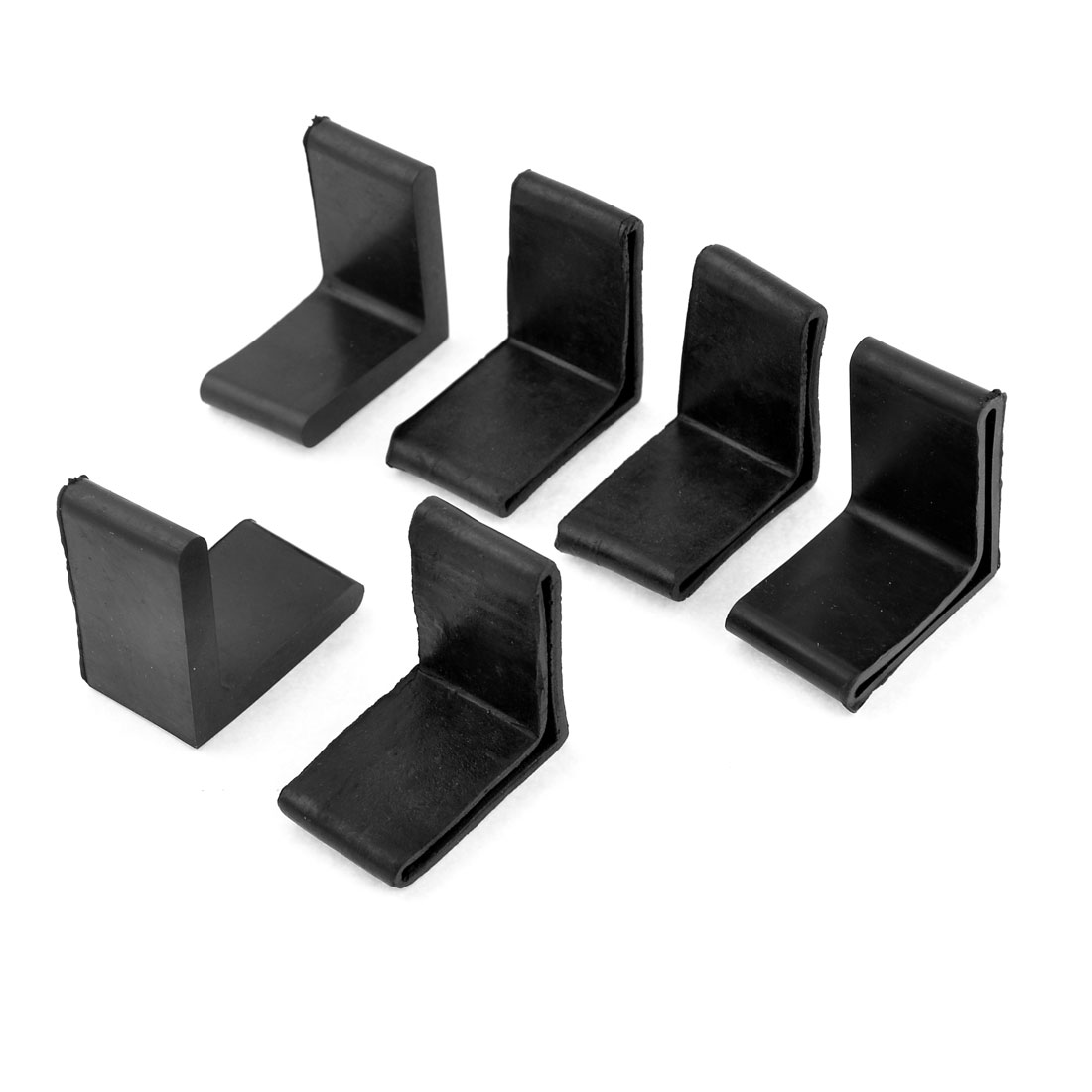 6 Pcs 48mm x 48mm L Shaped Furniture Angle Iron Black Rubber Foot Covers