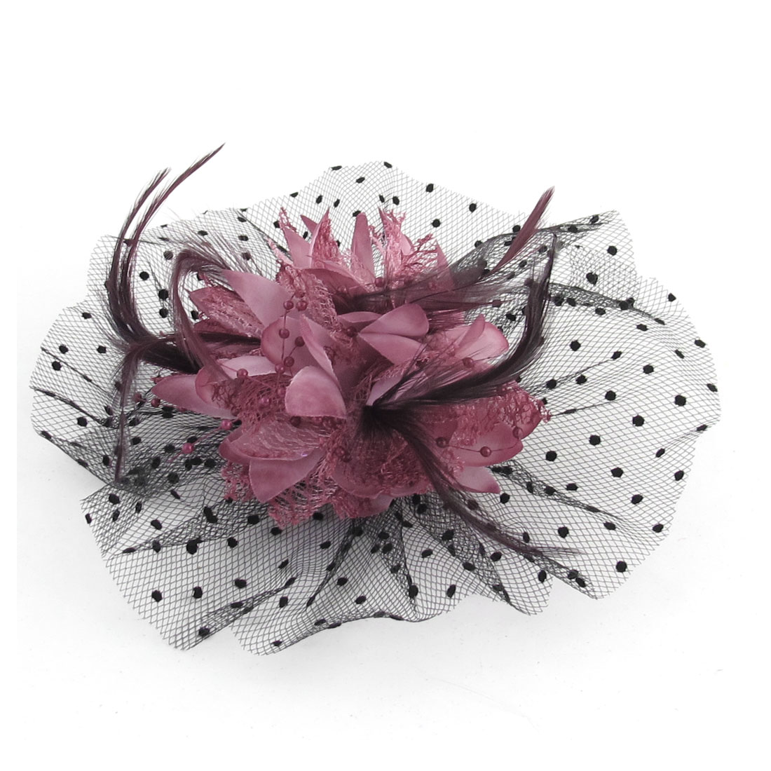 Ladies Burgundy Feather Accent Pink Flower Ornament Alligator Hair Clip Brooch